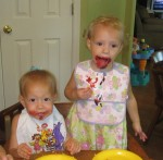 Lauryn and Karalyn enjoying their ladybug cupcakes from their Aunt Ashton