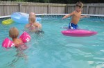 Lauryn, Landon, Tavis and Karalyn having fun in the pool