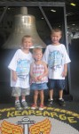 Layton, Lauryn and Landon ready to go tour the USS Kearsarge