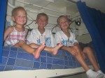 Lauryn, Layton, and Landon on their Uncle Trenten's bunk