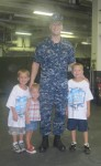 Layton, Lauryn and Landon on board of the USS Kearsarge