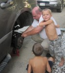 Landon and Layton is making sure Grandpa is doing this all correctly
