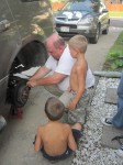 Landon and Layton are still making sure Grandpa is changing them correctly