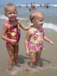 Lauryn and Karalyn playing at the beach together