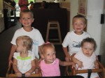 All the cousins--Karalyn, Layton, Lauryn, Landon, and Karsen--that were born at the time at Pungo Pizza & Ice Cream